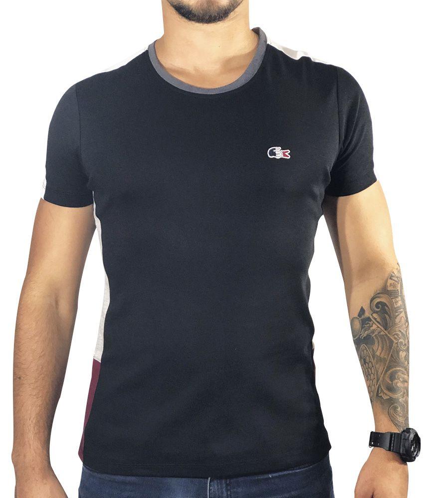 Camiseta Lacoste Preta Gola Cinza
