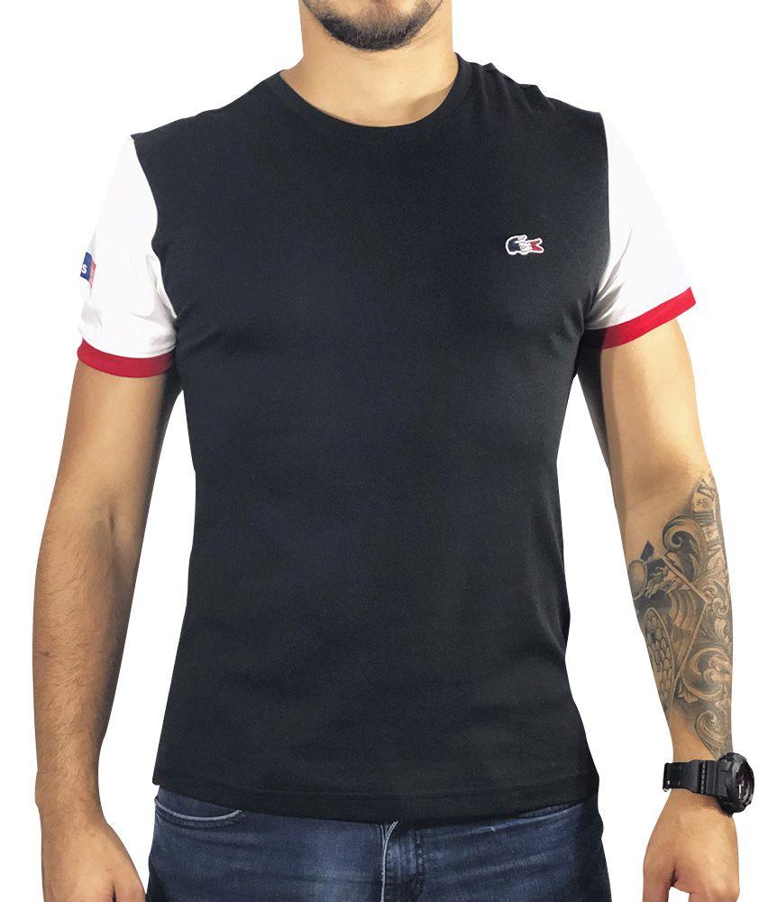 f4af08d1b60 Camiseta Lacoste Preta Manga Branca Vermelha - Pura Vida Store ...