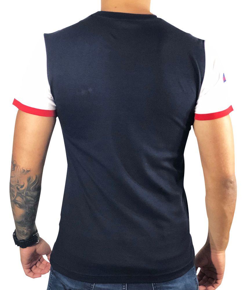 Camiseta Lacoste Preta Manga Branca/Vermelha