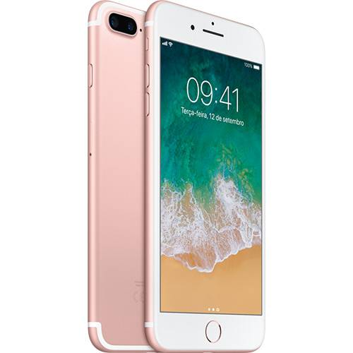 "IPhone 7 Plus 128GB Ouro Rosa Tela Retina HD 5,5"" 3D Touch Câmera Dupla de 12MP - Apple"