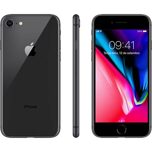 "iPhone 8 Cinza-Espacial 64GB Tela 4.7"" IOS 11 4G Wi-Fi Câmera 12MP - Apple"
