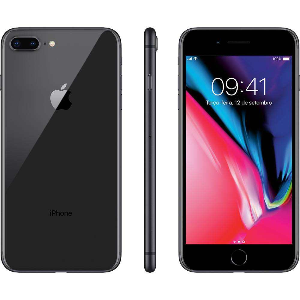 "iPhone 8 Plus Cinza-Espacial 64GB Tela 5.5"" IOS 11 4G Wi-Fi Câmera 12MP - Apple"