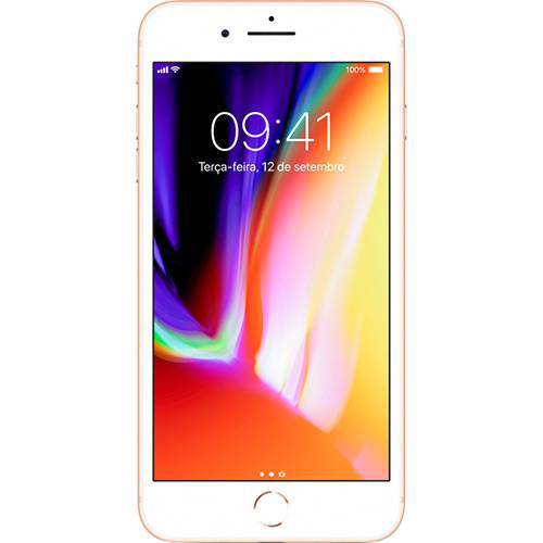 "IPhone 8 Plus Dourado 256GB Tela 5.5"" IOS 11 4G Wi-Fi Câmera 12MP - Apple"
