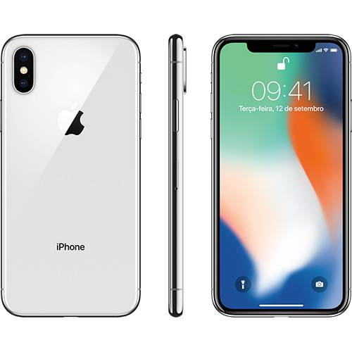 "iPhone X Prateado 64GB Tela 5.8"" IOS 11 4G Wi-Fi Câmera 12MP - Apple"