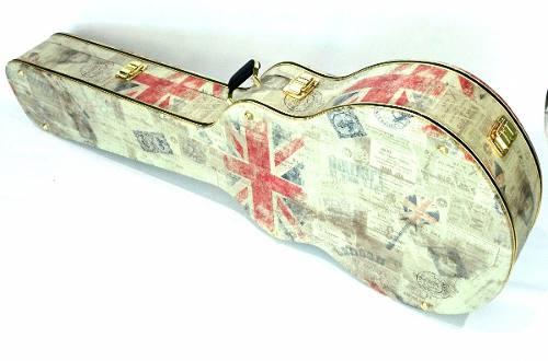 Case Para Violão Folk Tema Inglaterra Pelúcia Preta