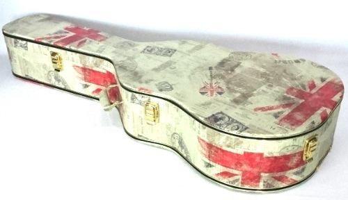 Case Para Violão Folk Tema Inglaterra Pelúcia Vermelha