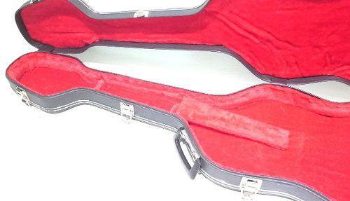 Estojo Case Contrabaixo Formato J.bass Luxo Pelúcia Vermelha