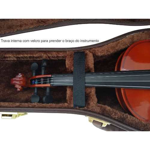Estojo Para Violino 4/4 Extra Luxo Couro + Breu Brinde