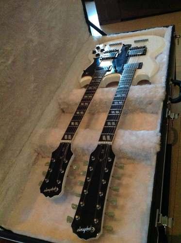 Case Retangular Para Guitarra Double Neck Pelúcia Branca
