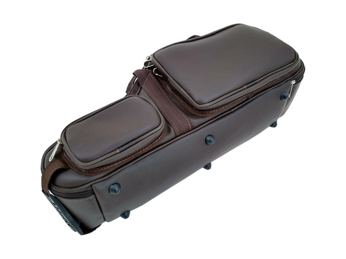 Bag Semi Case para Saxofone Alto em Mib Couro Ecológico Marrom