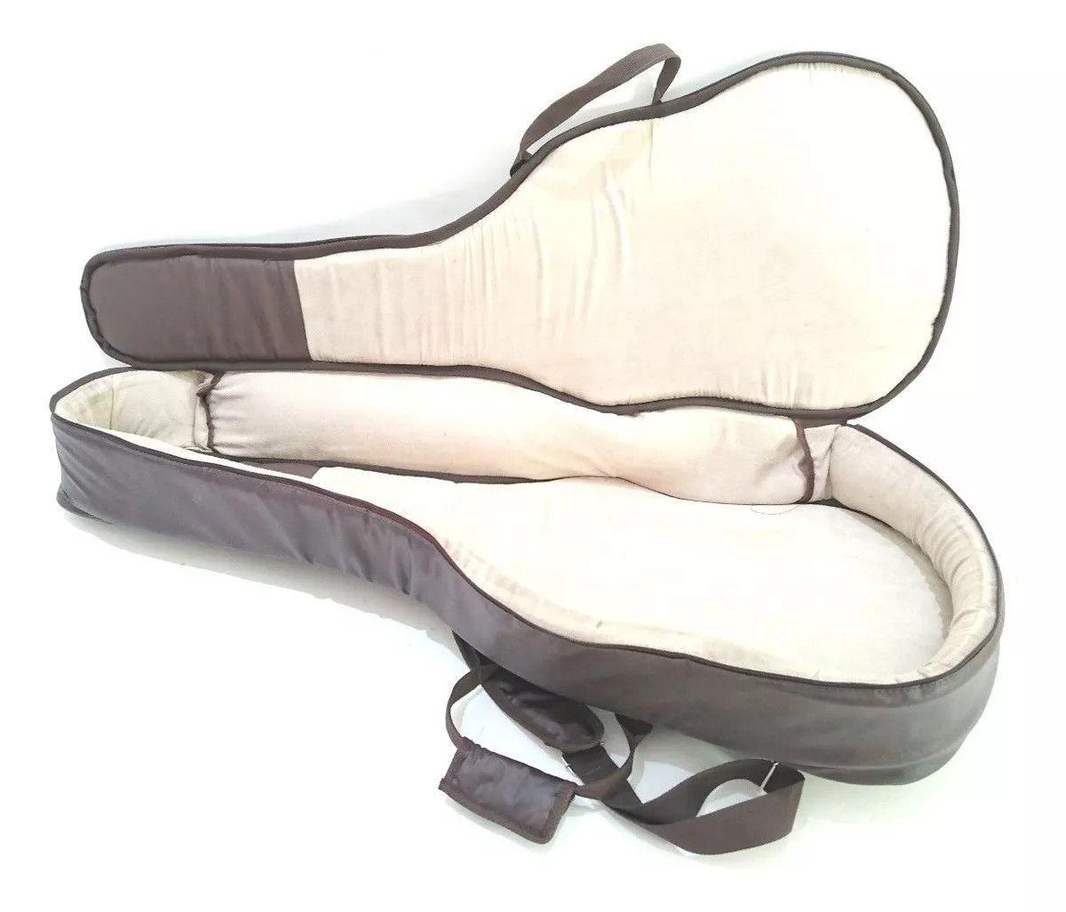 Capa Bag para Violão Jumbo Couro Ecologico Marrom