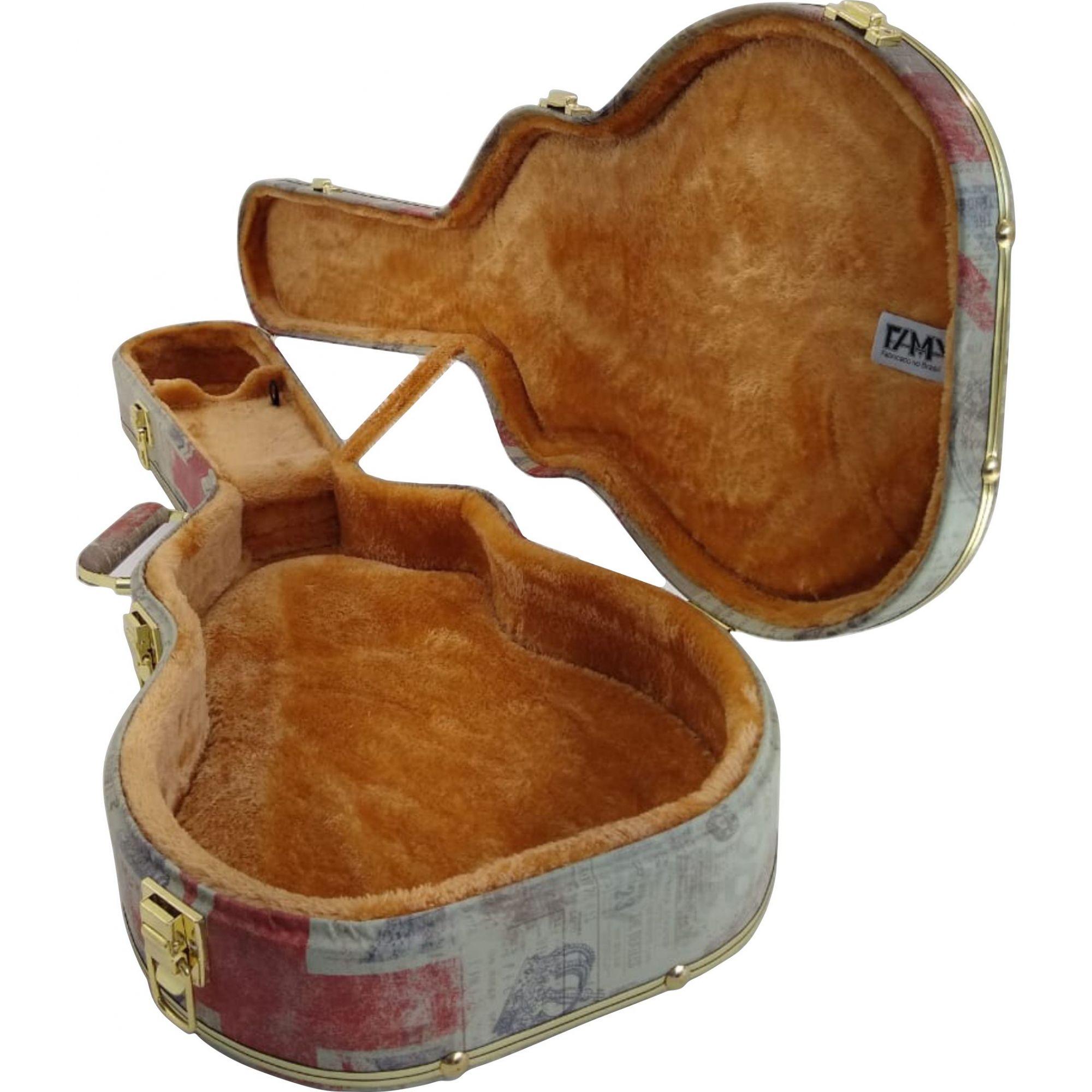 Case Para Violão Folk Tema London Pelúcia Caramelo
