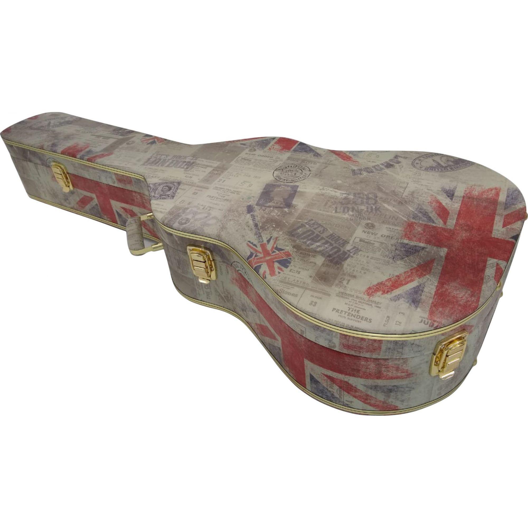Case Para Violão Folk Tema London Pelúcia Preta