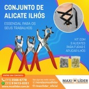 Kit De Alicates Conjunto Ideal Para Furar E Aplicar Ilhós