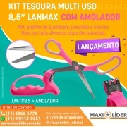 """Kit Tesoura Multi Uso 8,5""""   (Com Amolador)"""