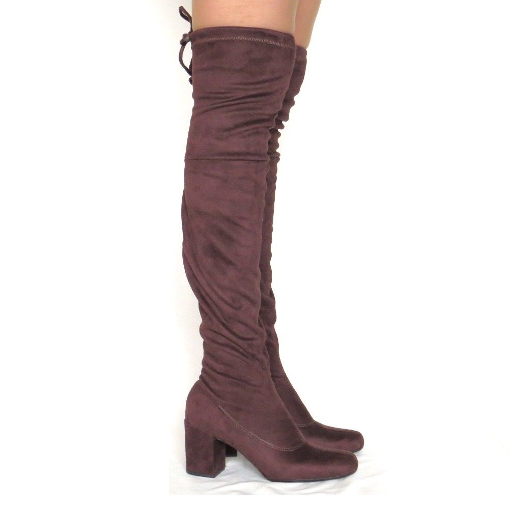 Bota Over The Knee em nobuck stretch - Café