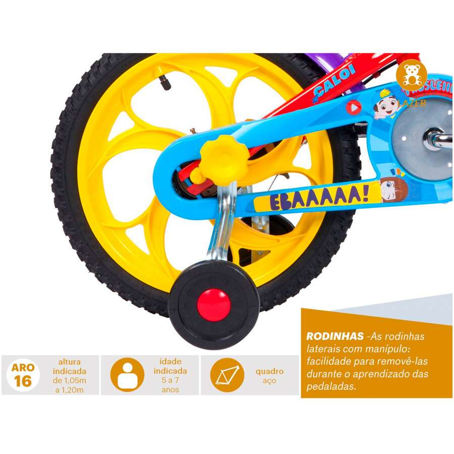 Bicicleta Caloi Luccas Neto -  Aro 16 - Freios Cantilever - Infantil