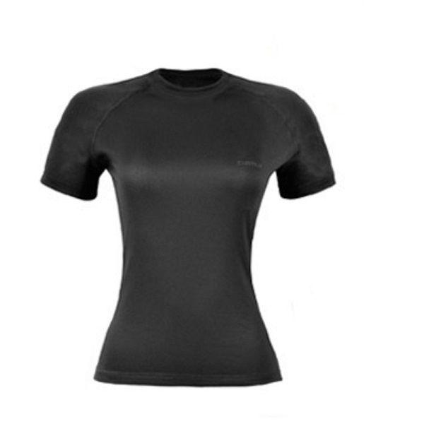 Camiseta Curtlo Thermoskin Feminina Segunda Pele Manga Curta Preta