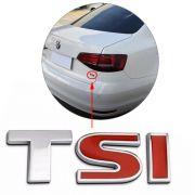 Emblema Letreiro Tsi Jetta 2015 Cromado Com Vermelho