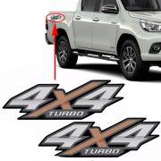 Par Emblema Adesivo 4x4 Turbo Nova Hilux 2016 2017 2018