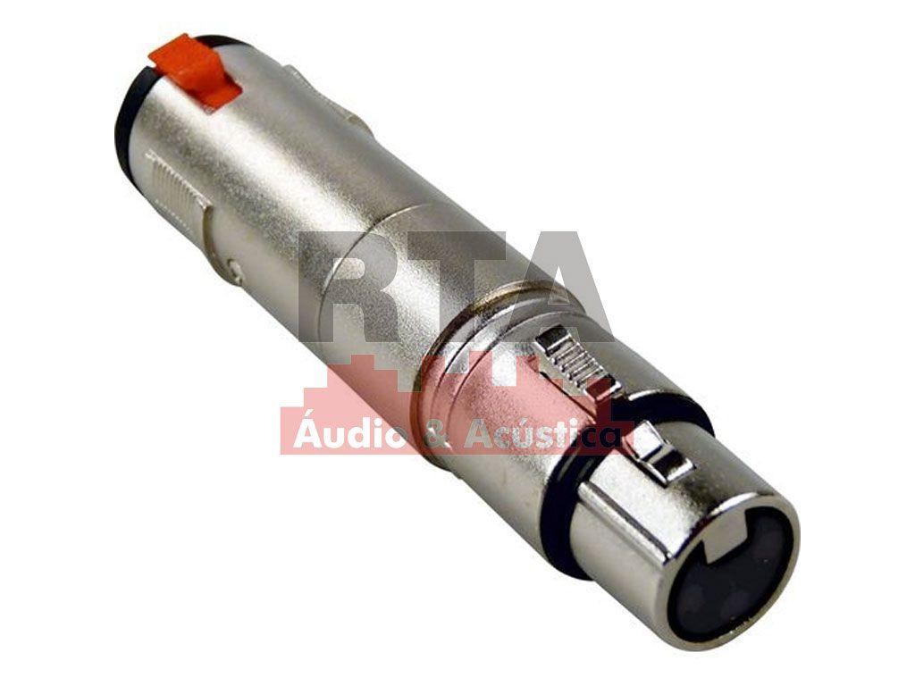 Adaptador XLR (canon) fêmea X jack P10 estéreo