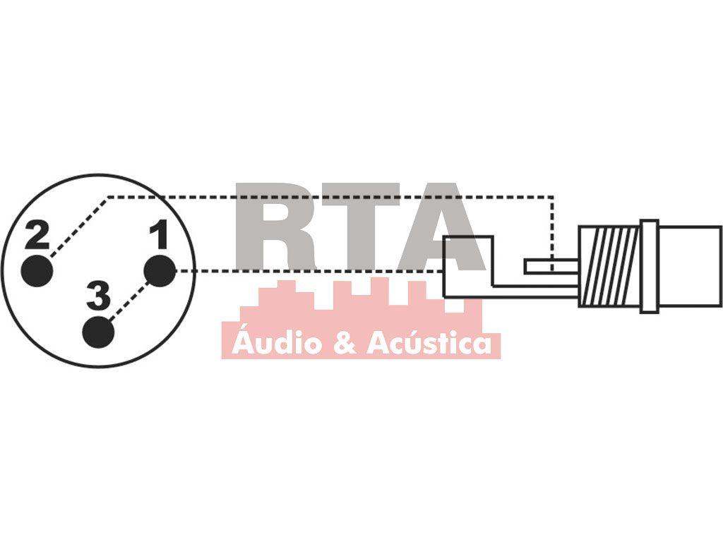 Adaptador XLR (canon) macho X RCA fêmea