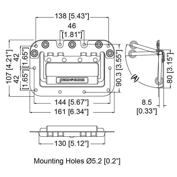 Alça de embutir Penn Elcom H7154Z zincada para case