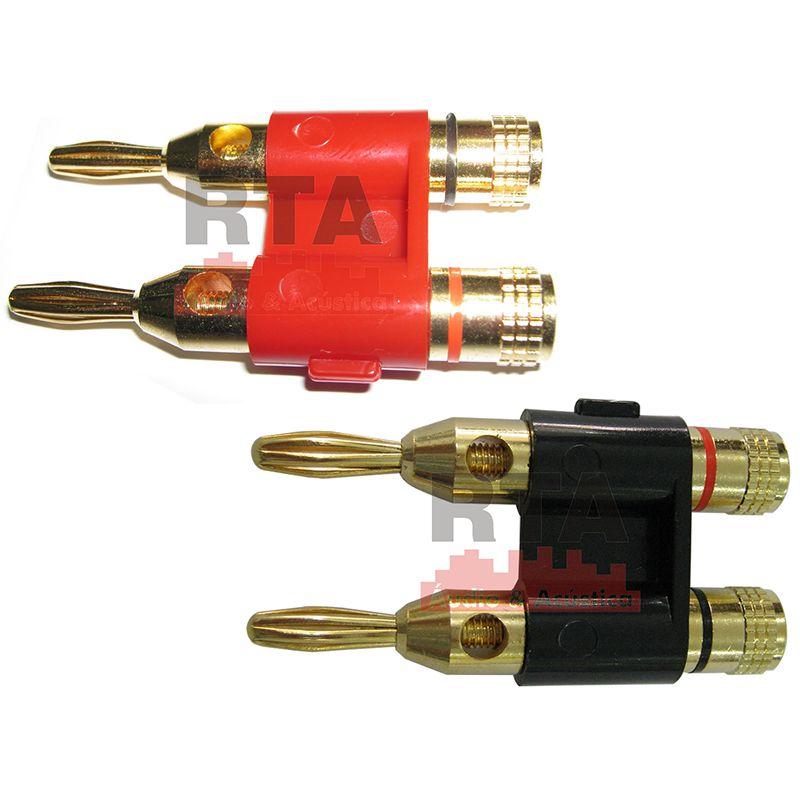 Plug conector Banana duplo HJH vermelho ou preto, banhado a ouro