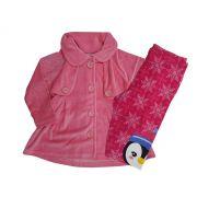 Conjunto Infantil Feminino de Inverno (Casaco de Plush e Calça Legging) Angerô