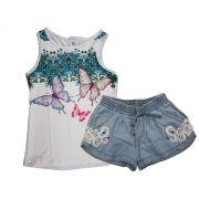 Conjunto Infantil Feminino de Regata e Short Jeans Karamelo