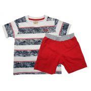 Conjunto Infantil Masculino Camiseta e Bermuda de Sarja Angerô