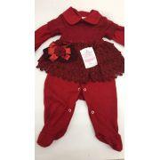 macacão djiele bebe com vestidinho de linho