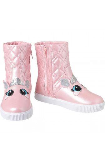 Bota infantil pampili luna princes dot rosa glace