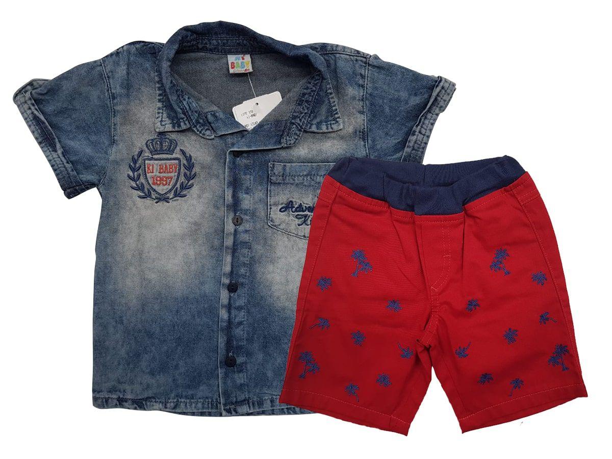 Conjunto Infantil Masculino Camisa Jeans e Bermuda de Sarja Ki-Baby