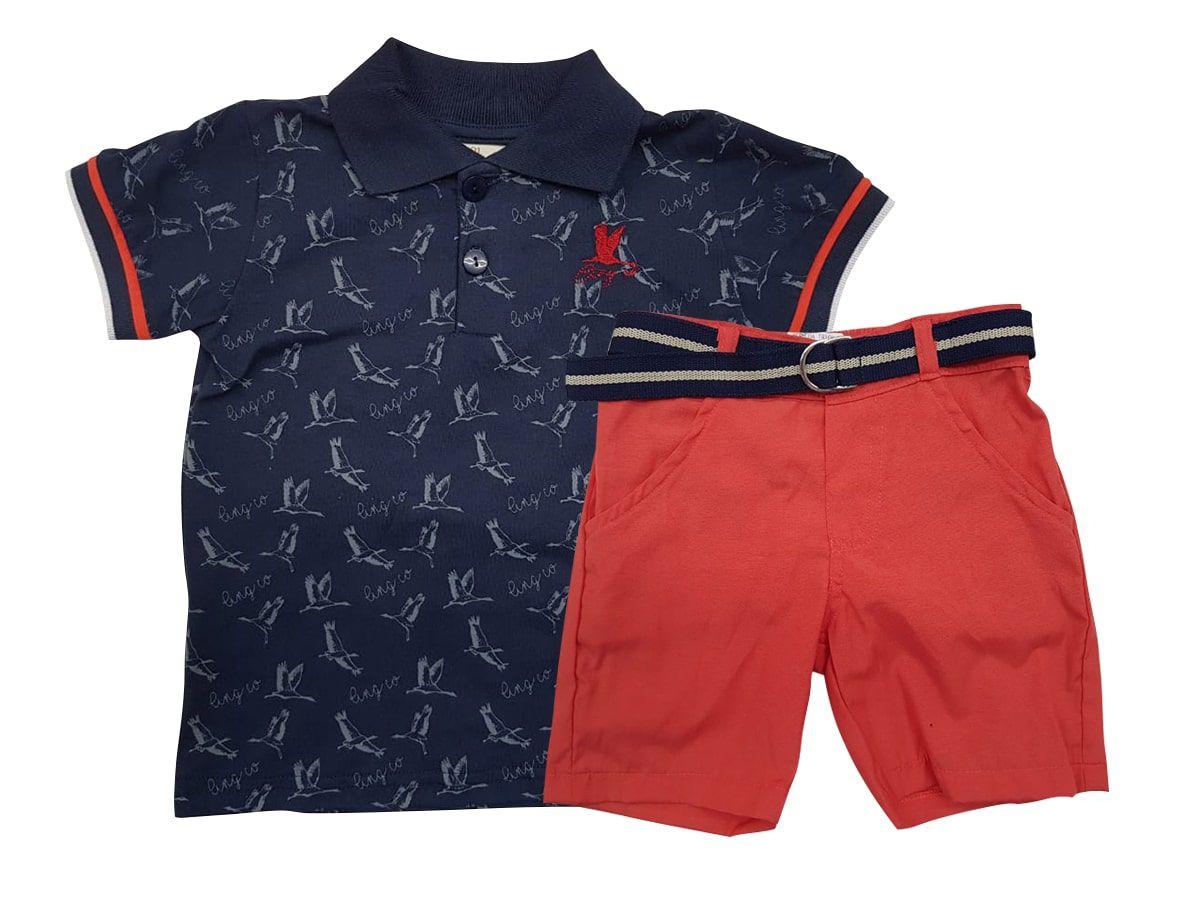 Conjunto Infantil Masculino Polo com Bermuda Angerô