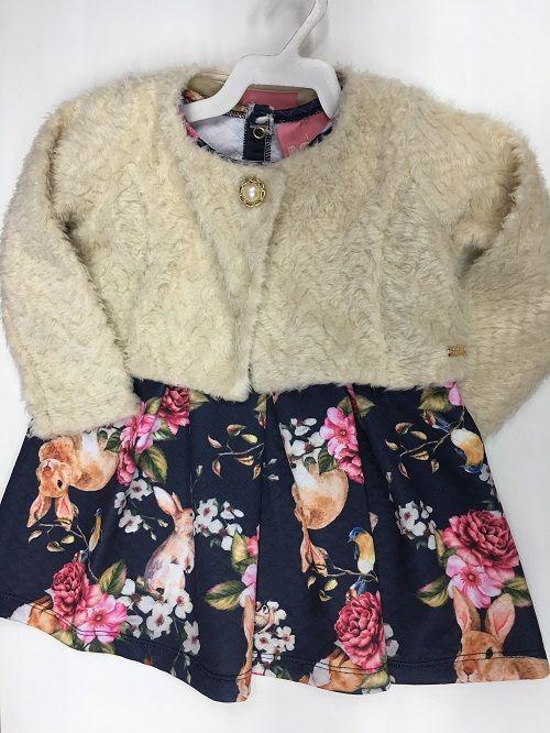 Vestido Infantil de Inverno Le Petit (Acompanha Bolero de Pelo Sintético)
