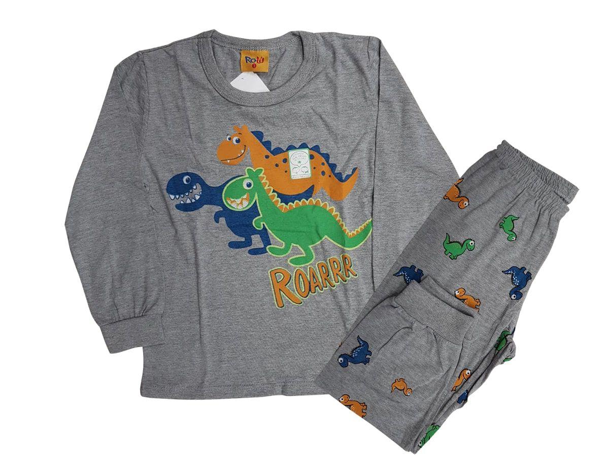 Pijama Infantil Masculino de Inverno (Dinossauro) Rolú