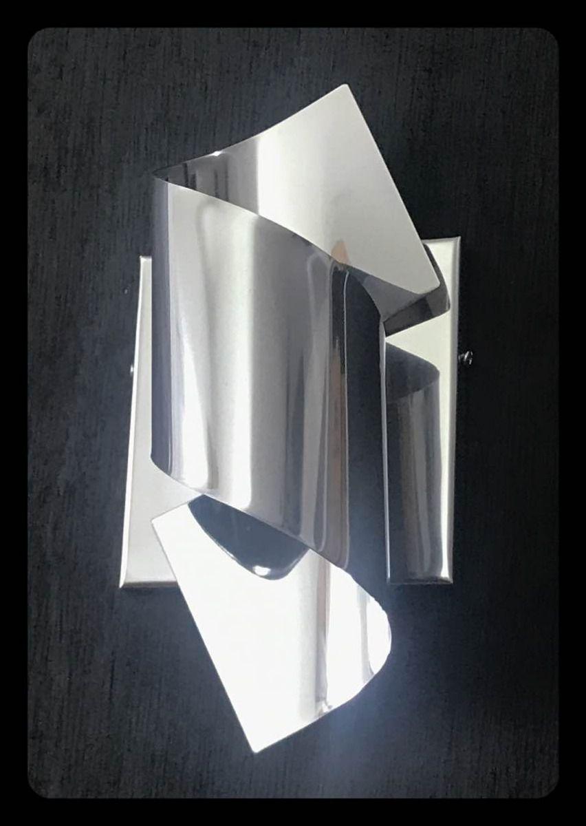 Arandela Decorativa em Inox Espelhado + 1 Lâmpada G09 (Fria - Acende Branco)