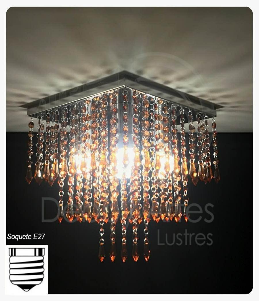 Lustre Plafon de Cristal Acrílico Conhaque - Soquete E27 - Debby Artes