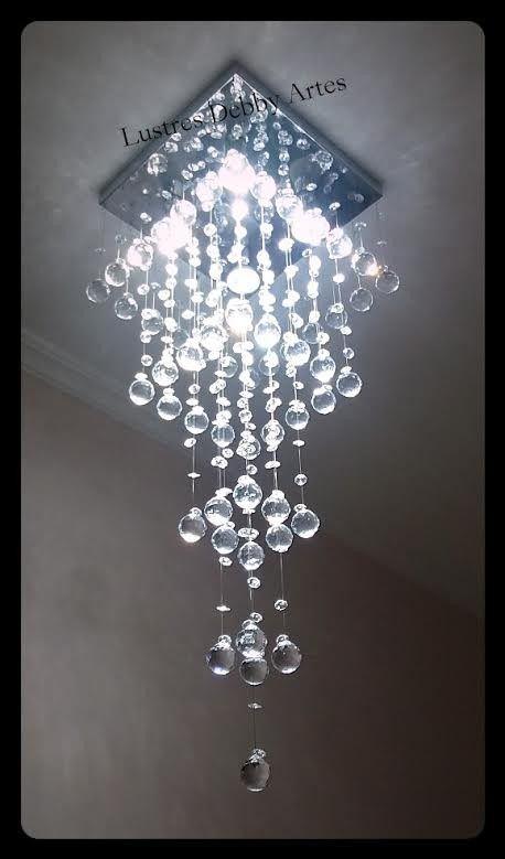 Lustre Plafon de Cristal Acrílico - Esferas - Base Fina 30x30 - Debby Artes