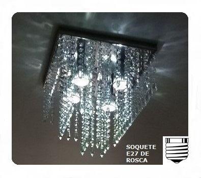 Lustre Plafon de Cristal Acrílico - Soquete E27 - Debby Artes
