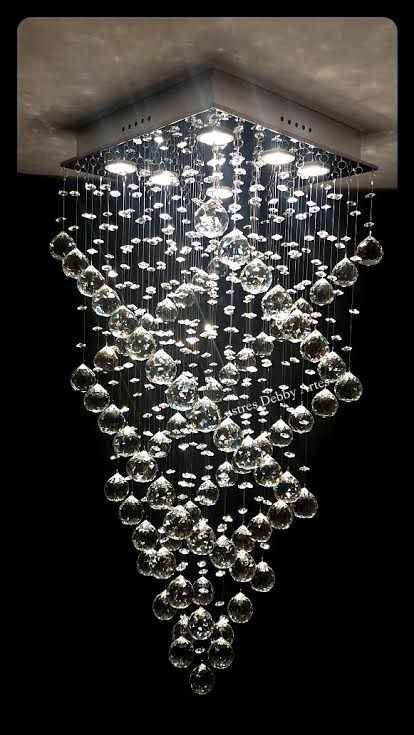 Lustre Plafon de Cristal Asfour - Base 35x35x90 - Esferas 40mm - Debby Artes