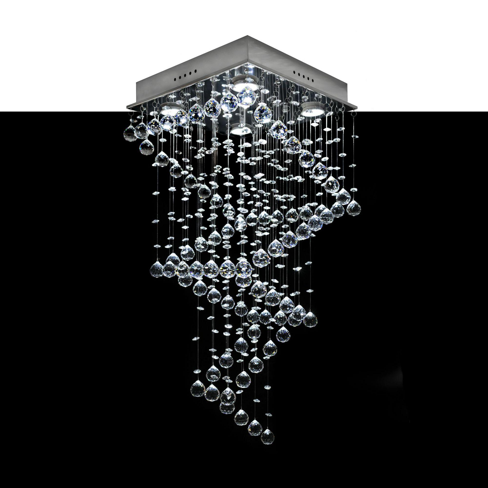 Lustre Plafon de Cristal Asfour - Quadrados - Base 35x35x80 - Debby Artes