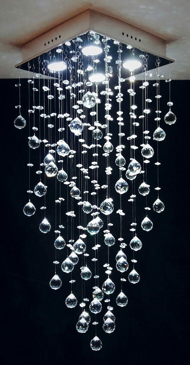 Lustre Plafon de Cristal Legítimo - Base 30x30x80 - Debby Artes