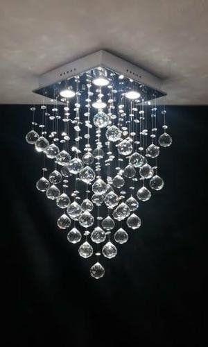 Lustre Plafon de Cristal Legítimo - Base 30x30x60 cm - Esferas 40 mm - Debby Artes