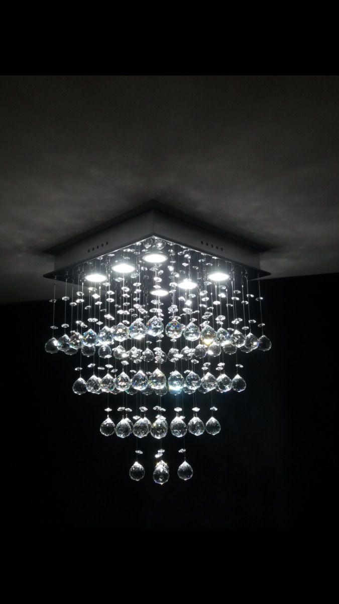 Lustre Plafon de Cristal Legítimo - Base 35x35 cm - Debby Artes