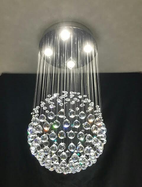 Lustre Plafon de Cristal Legítimo - Bola - 80 Cm