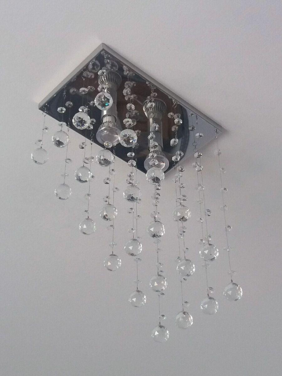Lustre Plafon de Cristal Legítimo - Lavabo & Corredor & Hall - Base 31x20 cm - Soquete GU10 - Debby Artes