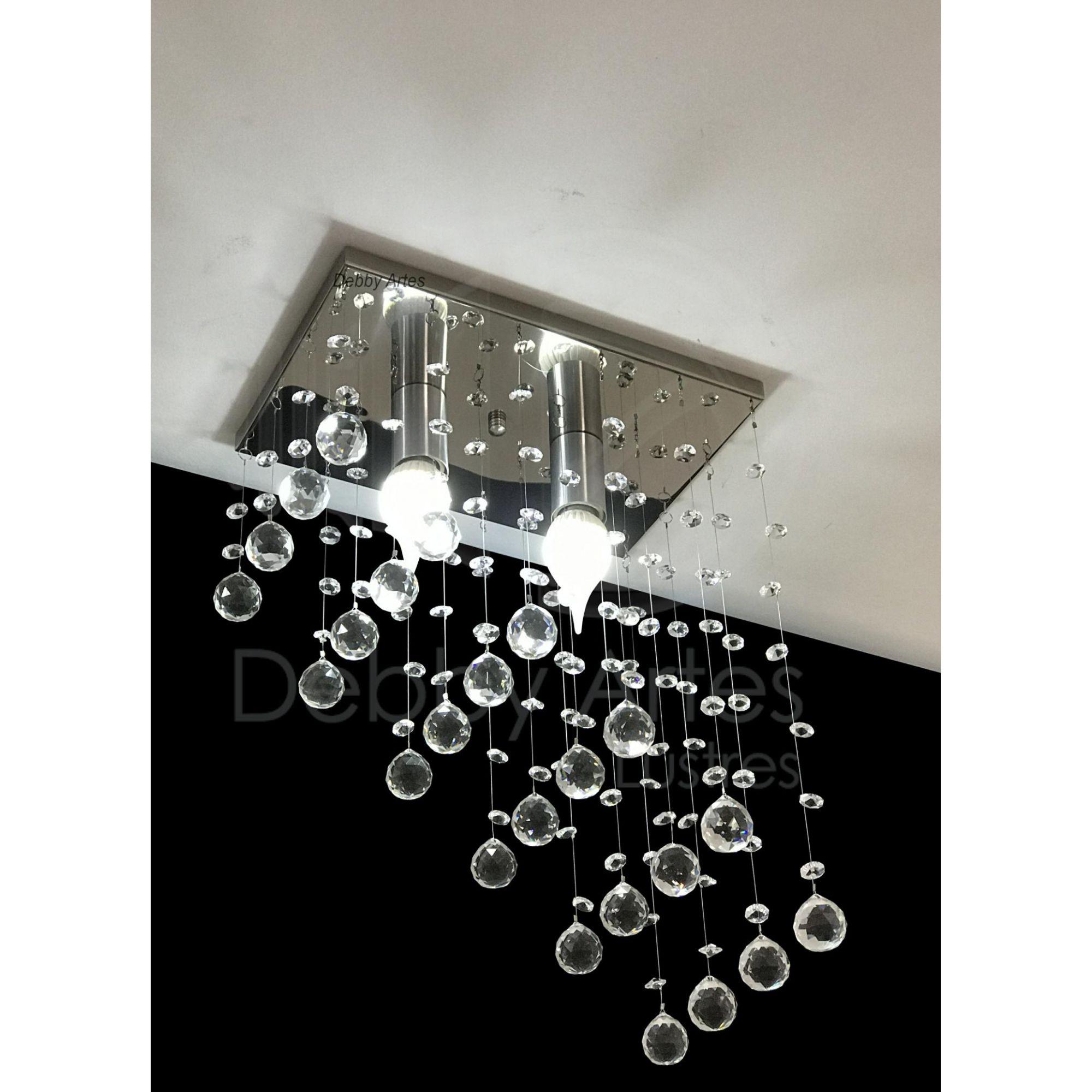 Lustre Plafon de Cristal Legítimo - Lavabo & Corredor & Hall - Base 31x20 cm - Soquete E27 - Debby Artes