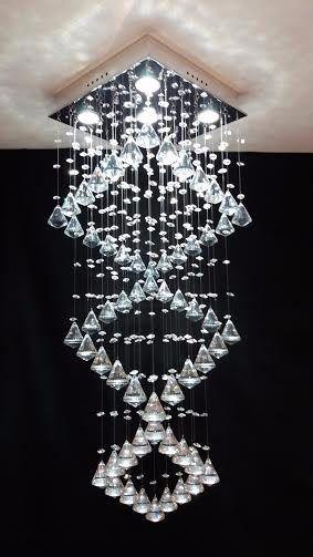 Lustre Plafon de Cristal Légitimo Quadrados - Pião 40mm